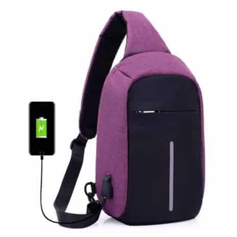 Breazbox purple anti theft sling backpack