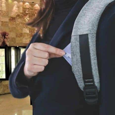 Breezbox anti theft backpack with strap pocket