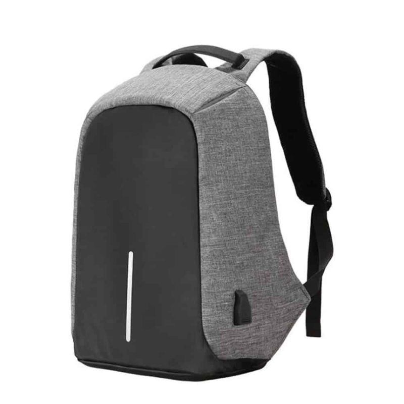 Breezbox anti theft grey backpack side view