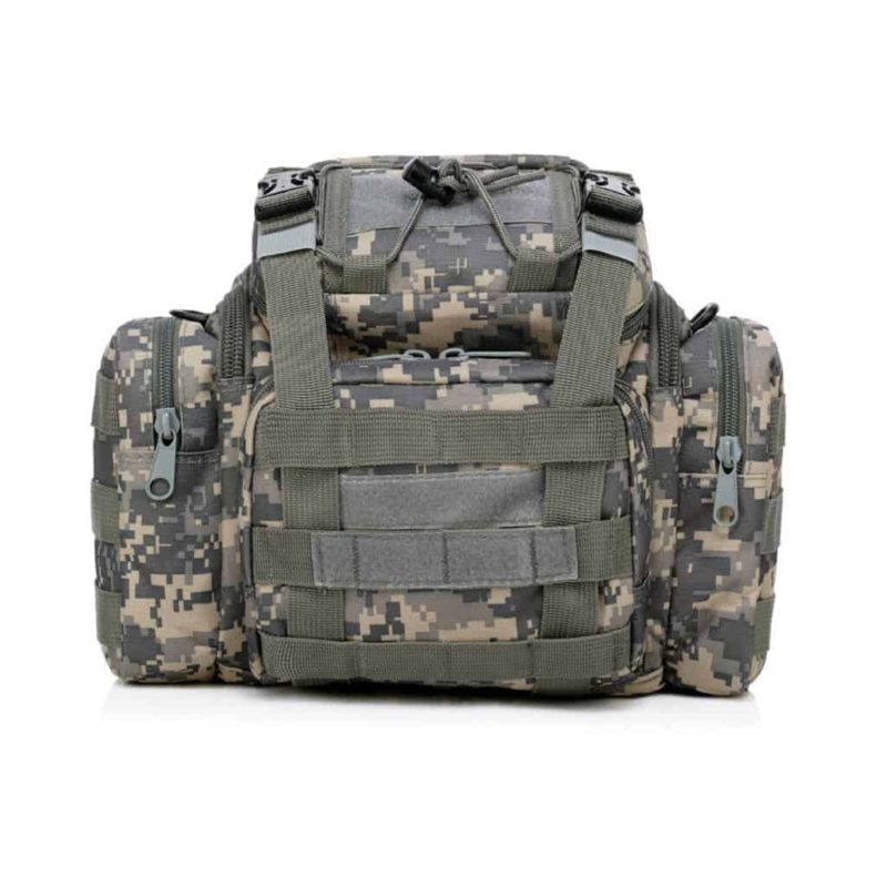 Front view of this ACU tactical bag for cameras