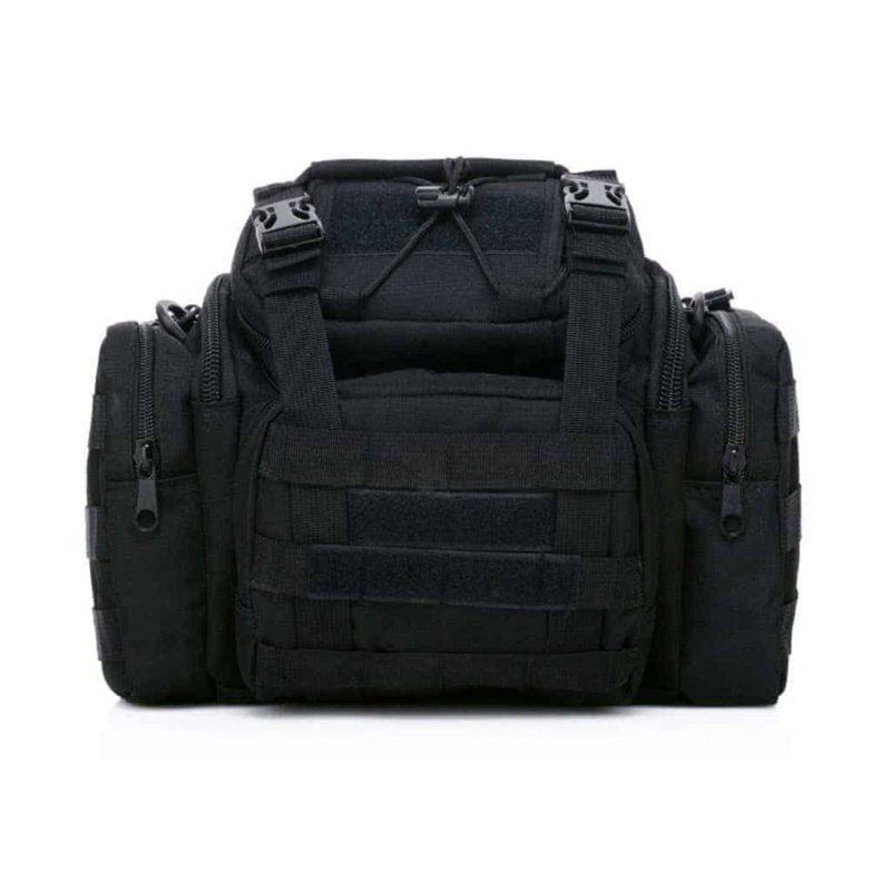 black tactical camera sling bag - front view