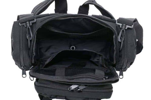 black tactical camera sling bag - top view