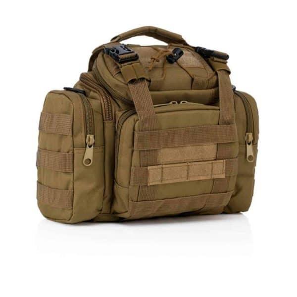 Khaki tactical dslr camera bag - side view
