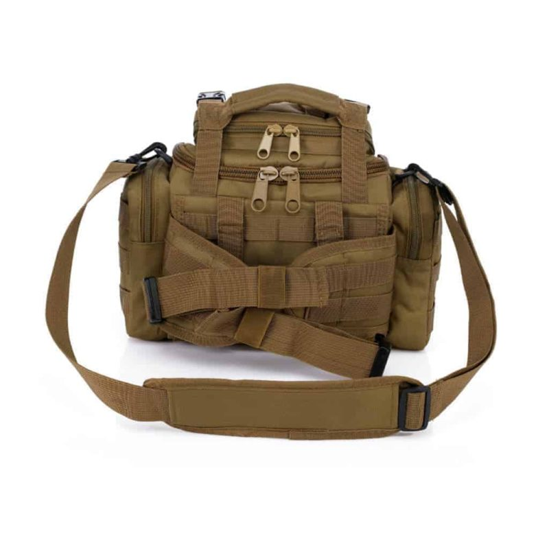 Khaki tactical dslr camera bag - back view