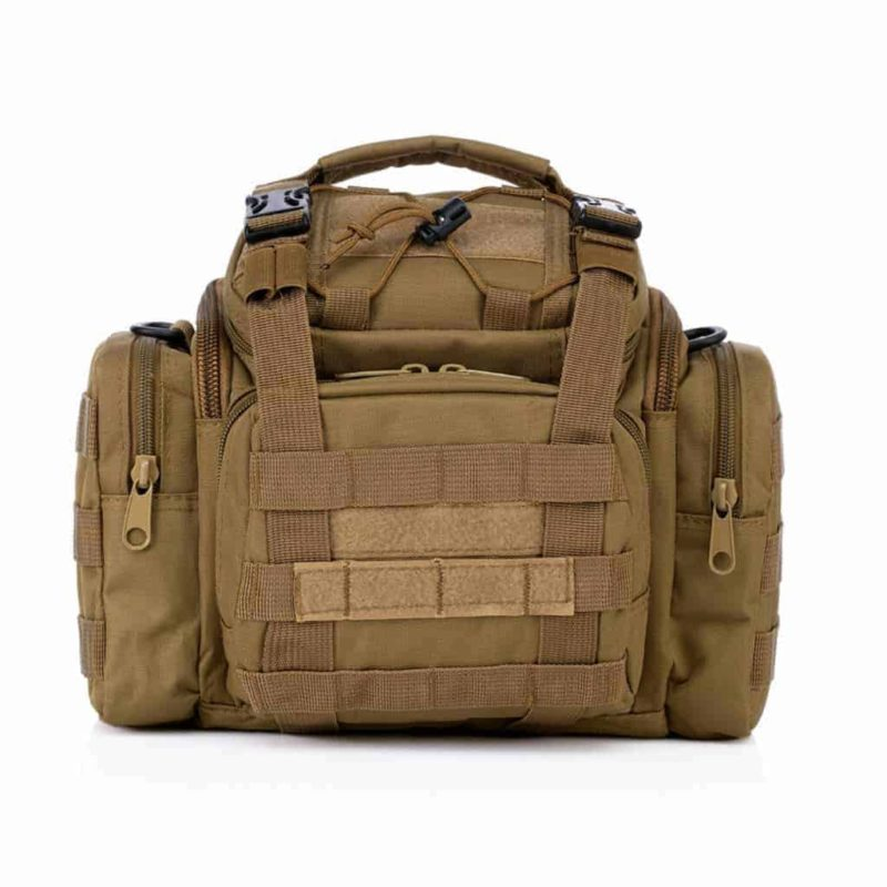 Khaki tactical camera bag - Front view