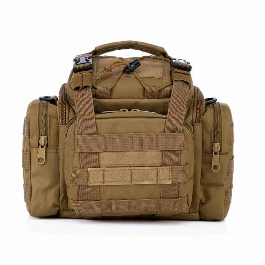 Khaki Tactical Camera Bag Front View